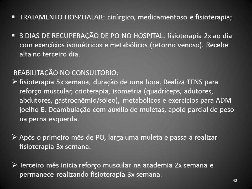 TRATAMENTO HOSPITALAR: cirúrgico, medicamentoso e fisioterapia;