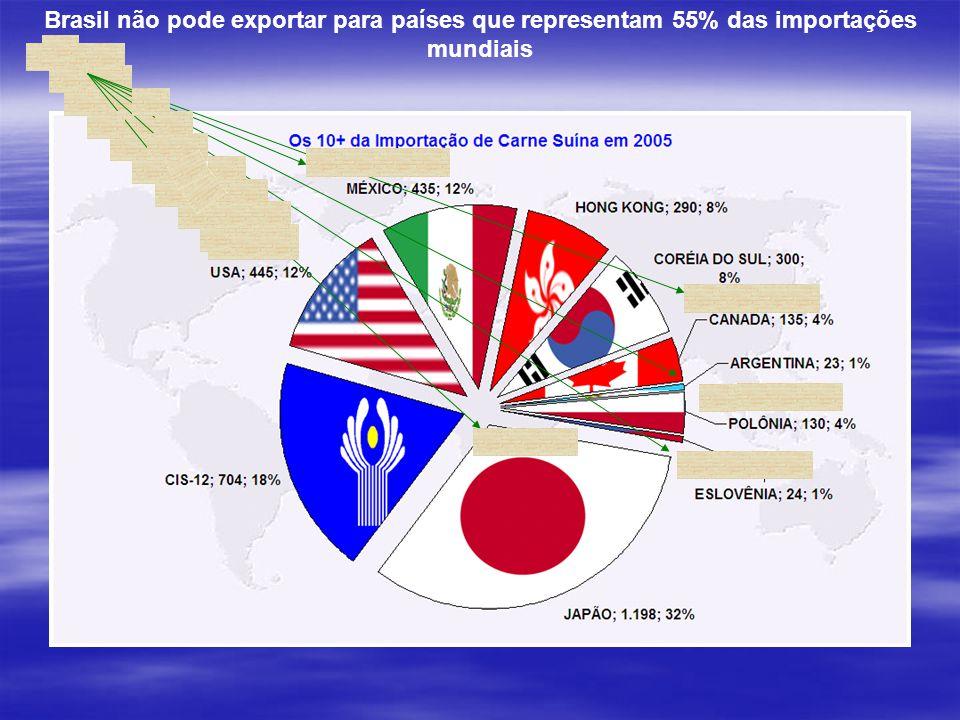 Brasil não pode exportar para países que representam 55% das importações mundiais