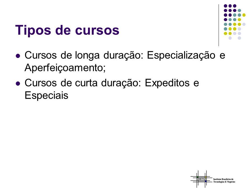 Tipos de cursos Cursos de longa duração: Especialização e Aperfeiçoamento; Cursos de curta duração: Expeditos e Especiais.