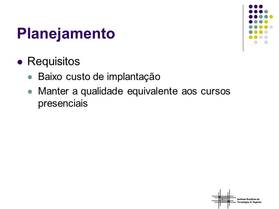 Planejamento Requisitos Baixo custo de implantação
