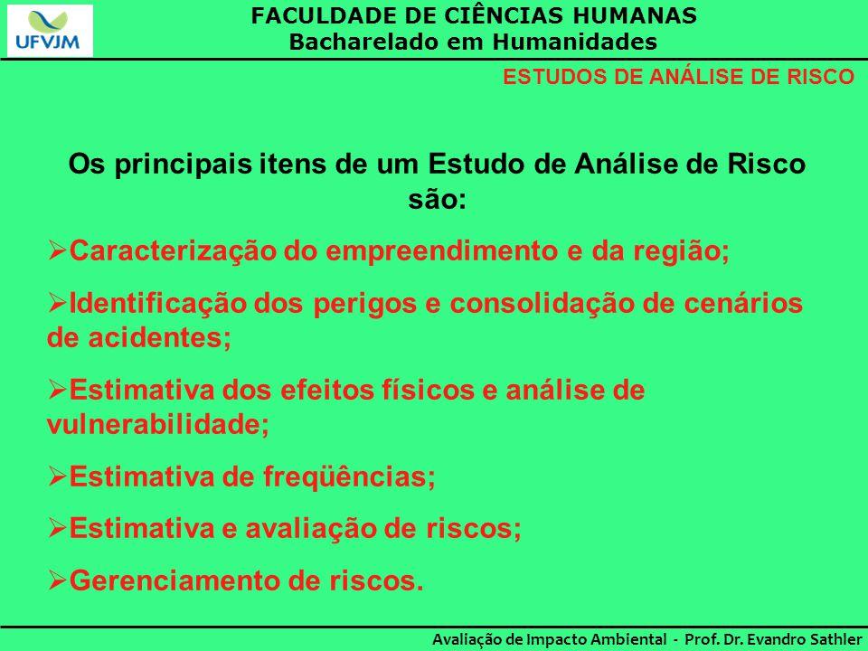 Os principais itens de um Estudo de Análise de Risco são: