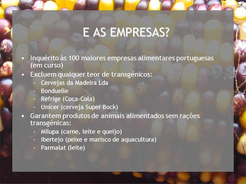 E AS EMPRESAS Inquérito às 100 maiores empresas alimentares portuguesas (em curso) Excluem qualquer teor de transgénicos: