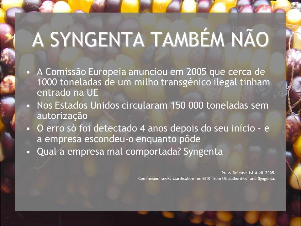 A SYNGENTA TAMBÉM NÃO A Comissão Europeia anunciou em 2005 que cerca de 1000 toneladas de um milho transgénico ilegal tinham entrado na UE.