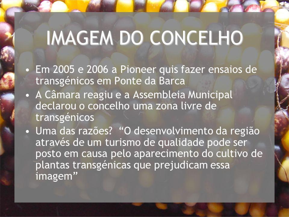 IMAGEM DO CONCELHO Em 2005 e 2006 a Pioneer quis fazer ensaios de transgénicos em Ponte da Barca.