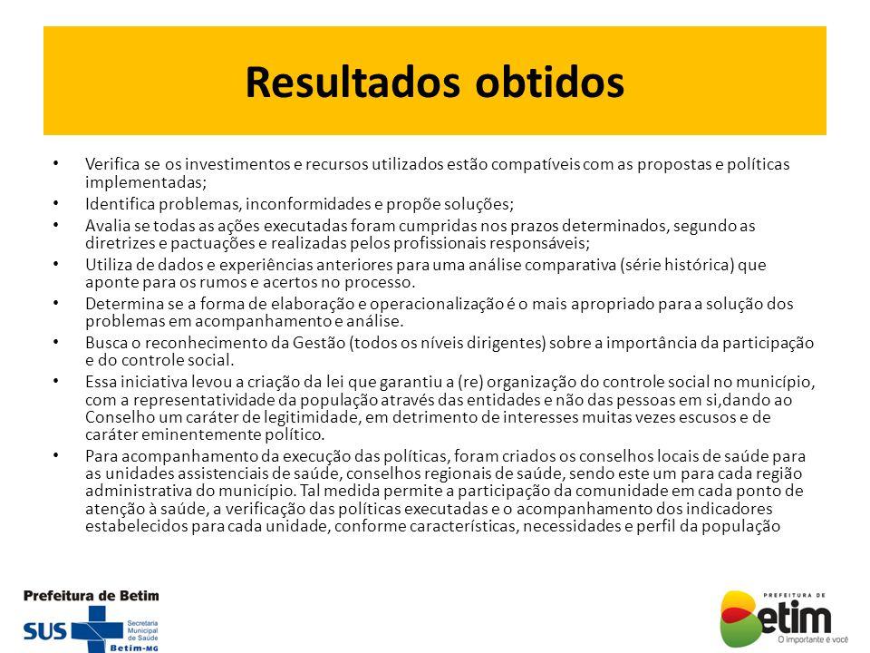Resultados obtidos Verifica se os investimentos e recursos utilizados estão compatíveis com as propostas e políticas implementadas;