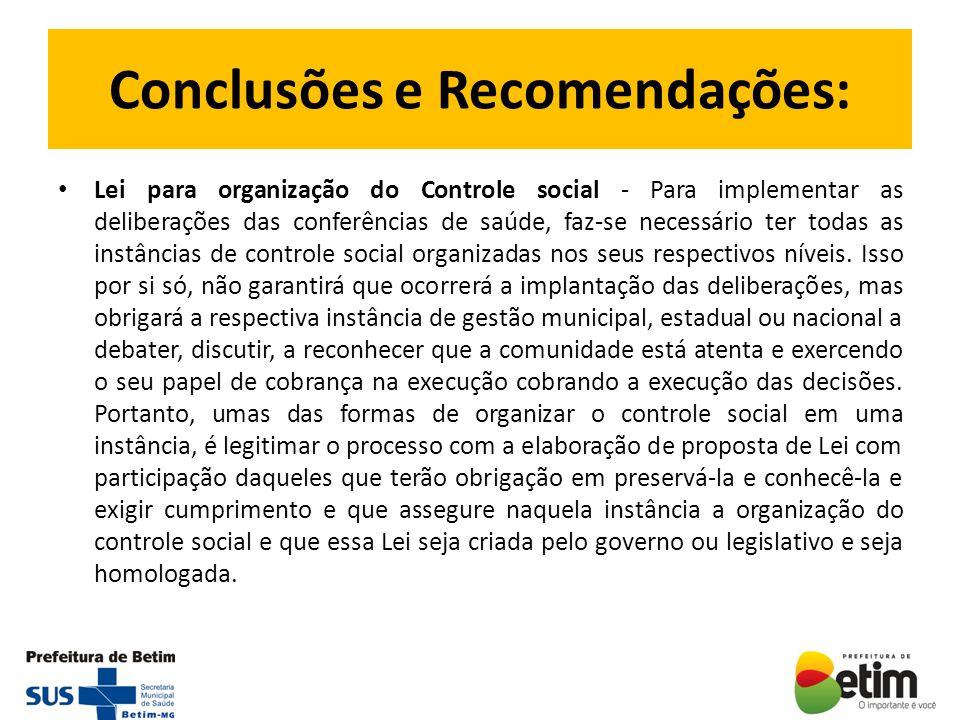 Conclusões e Recomendações: