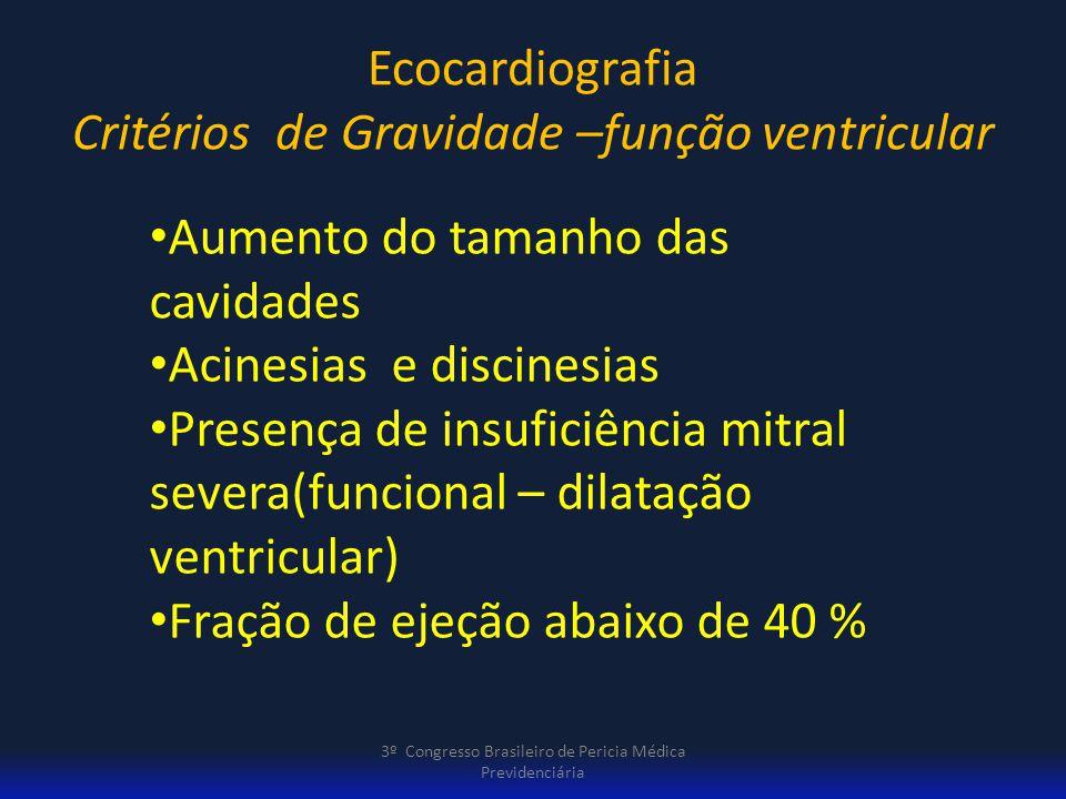 Ecocardiografia Critérios de Gravidade –função ventricular