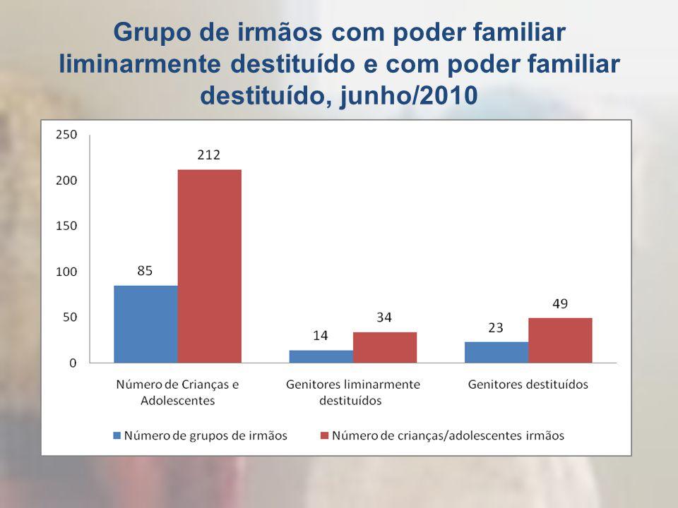 Grupo de irmãos com poder familiar liminarmente destituído e com poder familiar destituído, junho/2010