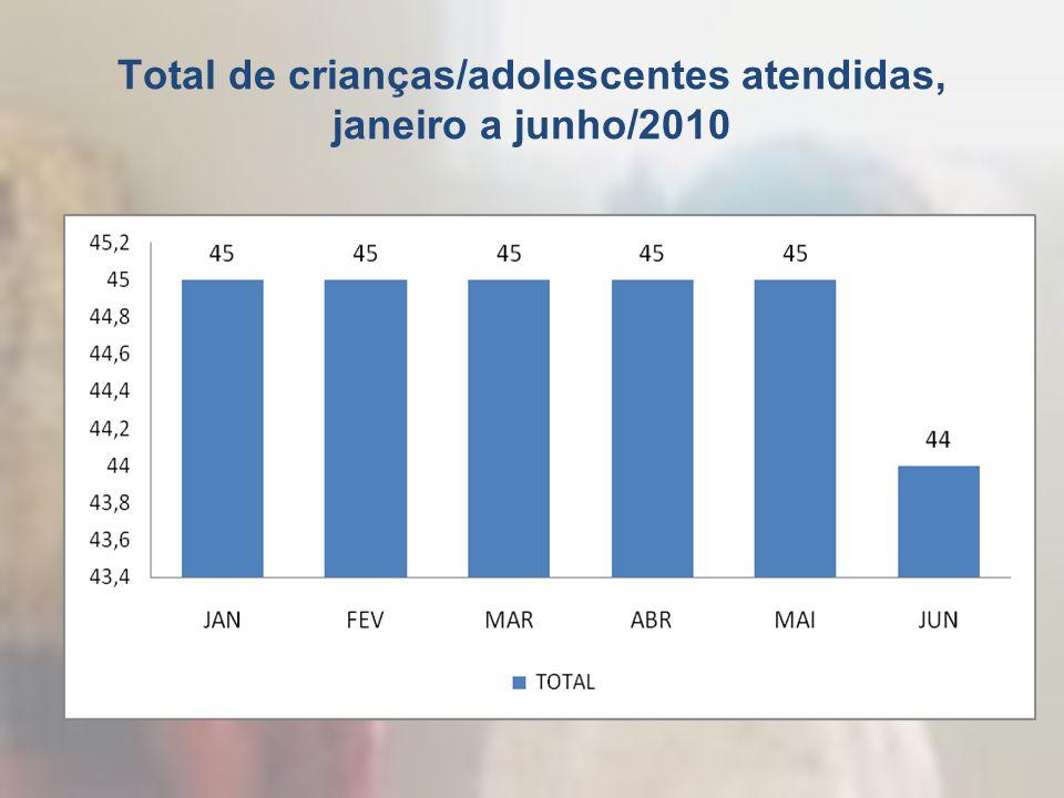 Total de crianças/adolescentes atendidas, janeiro a junho/2010
