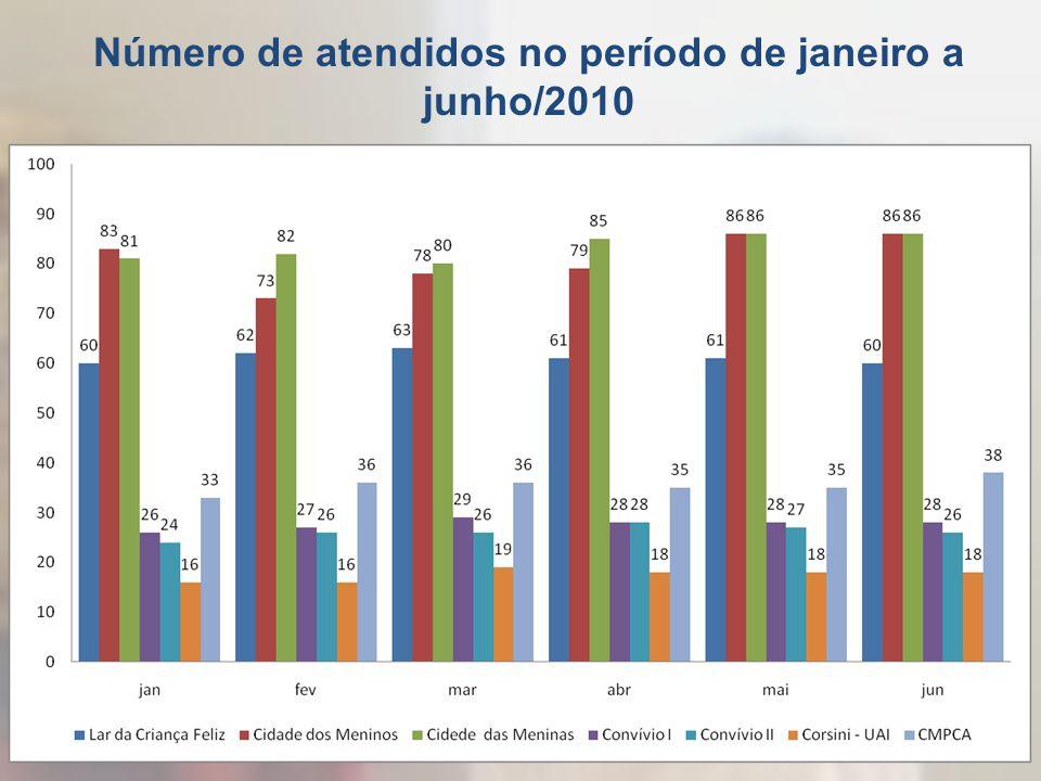 Número de atendidos no período de janeiro a junho/2010