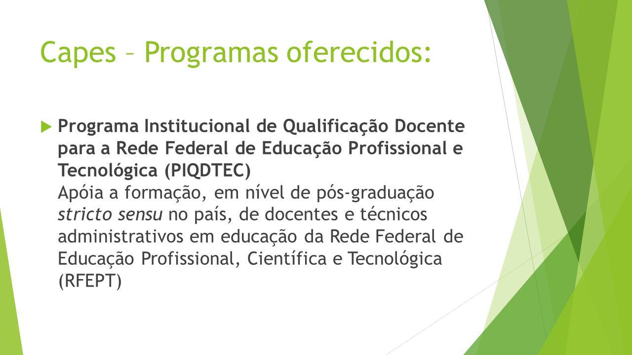Capes – Programas oferecidos: