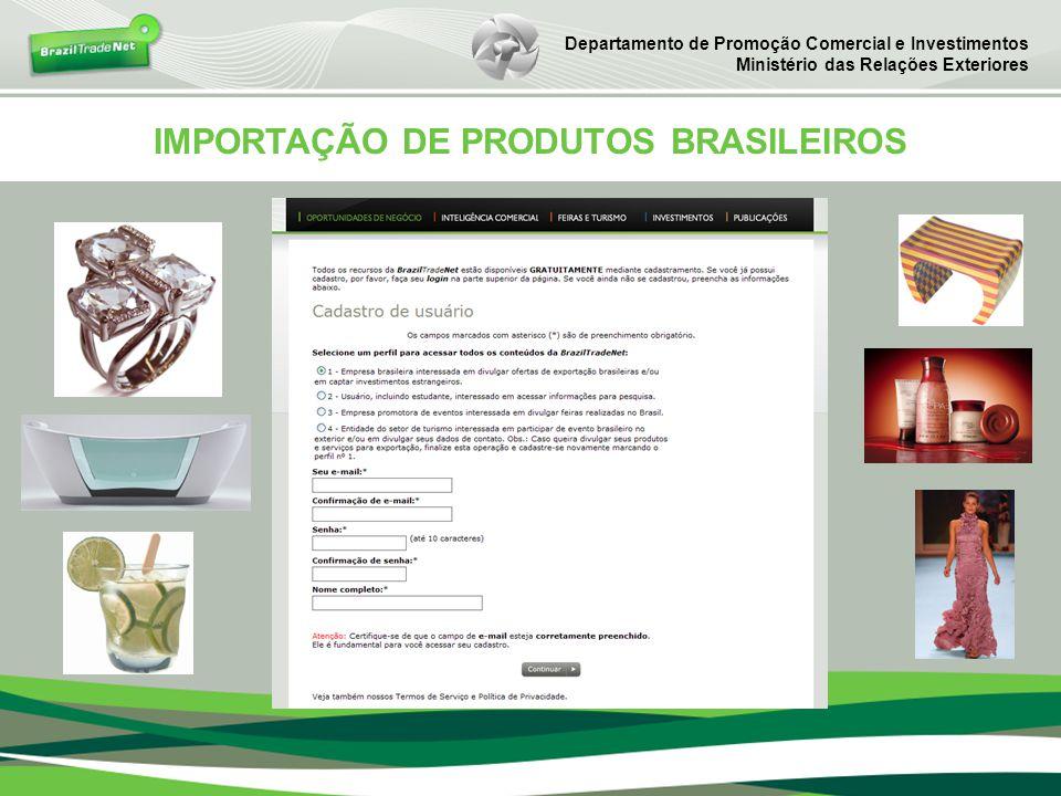 IMPORTAÇÃO DE PRODUTOS BRASILEIROS