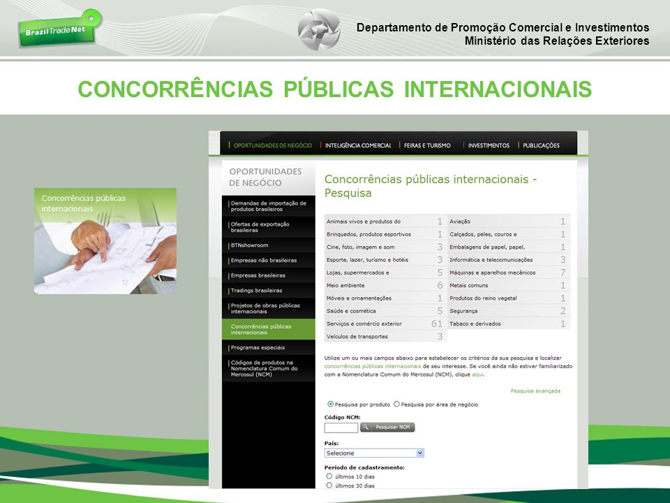 CONCORRÊNCIAS PÚBLICAS INTERNACIONAIS