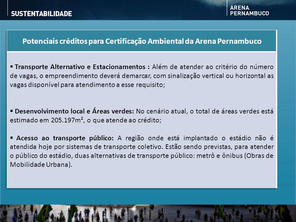 Potenciais créditos para Certificação Ambiental da Arena Pernambuco