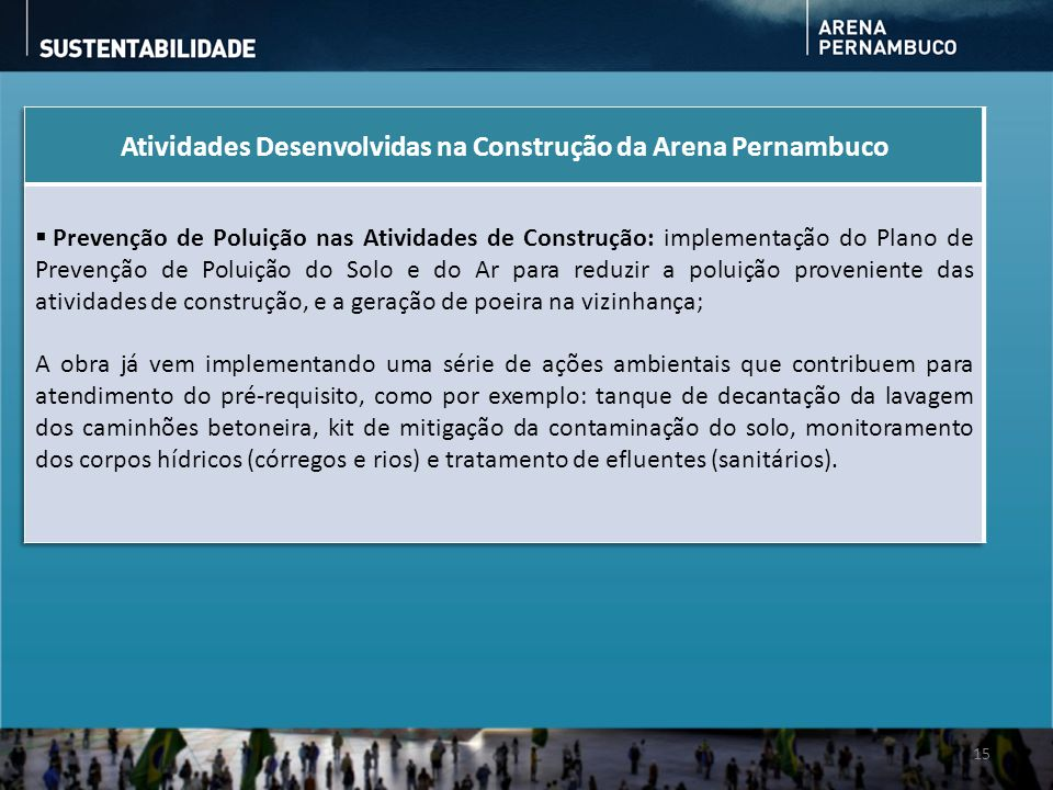 Atividades Desenvolvidas na Construção da Arena Pernambuco