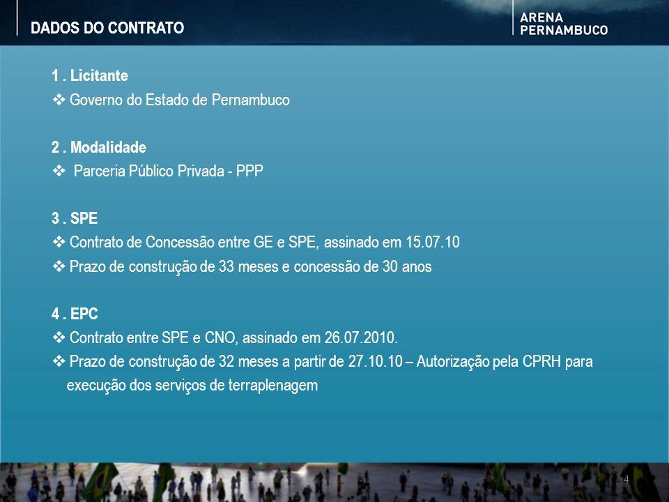 DADOS DO CONTRATO 1 . Licitante. Governo do Estado de Pernambuco. 2 . Modalidade. Parceria Público Privada - PPP.