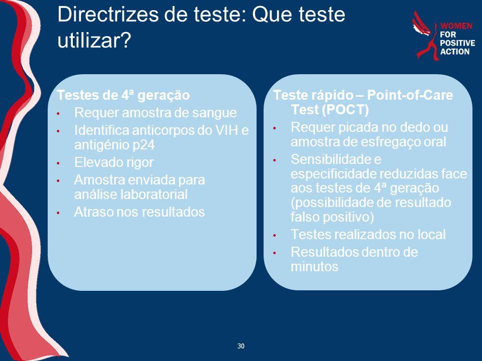 Directrizes de teste: Que teste utilizar
