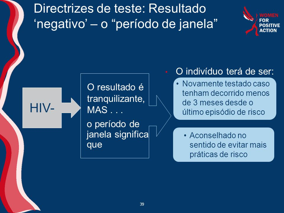 Directrizes de teste: Resultado 'negativo' – o período de janela
