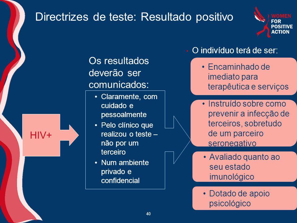 Directrizes de teste: Resultado positivo