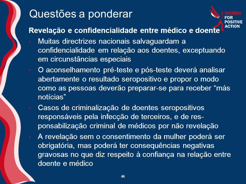 Questões a ponderar Revelação e confidencialidade entre médico e doente.