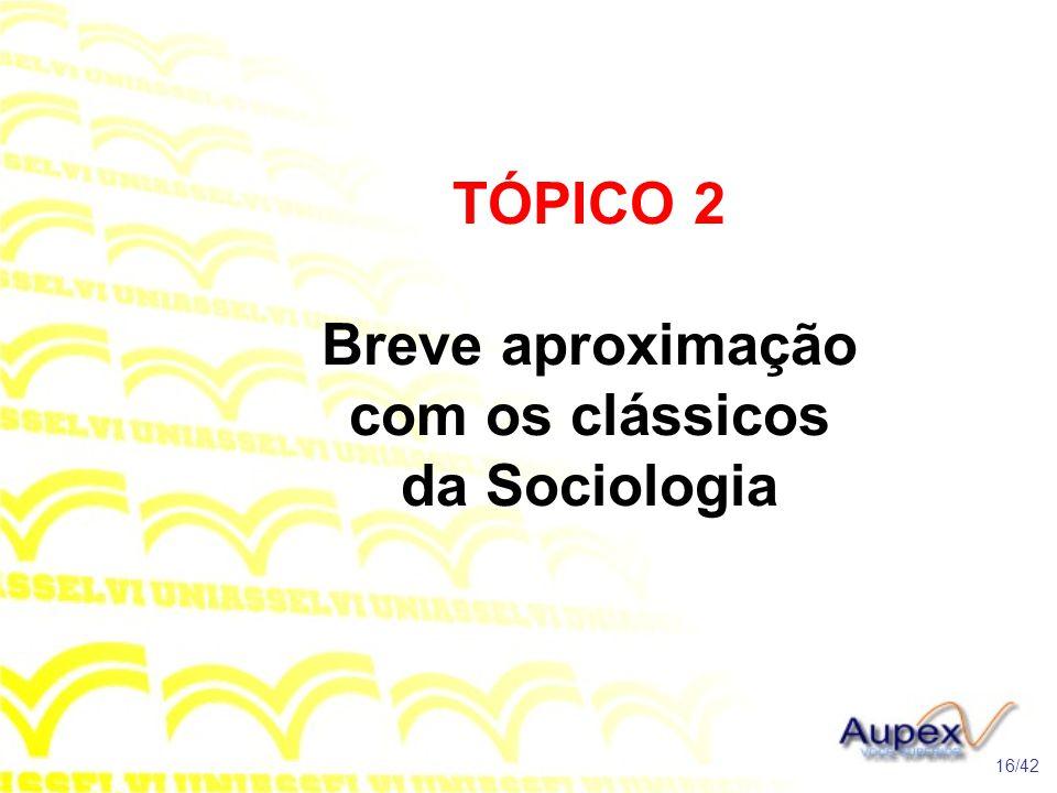 TÓPICO 2 Breve aproximação com os clássicos da Sociologia