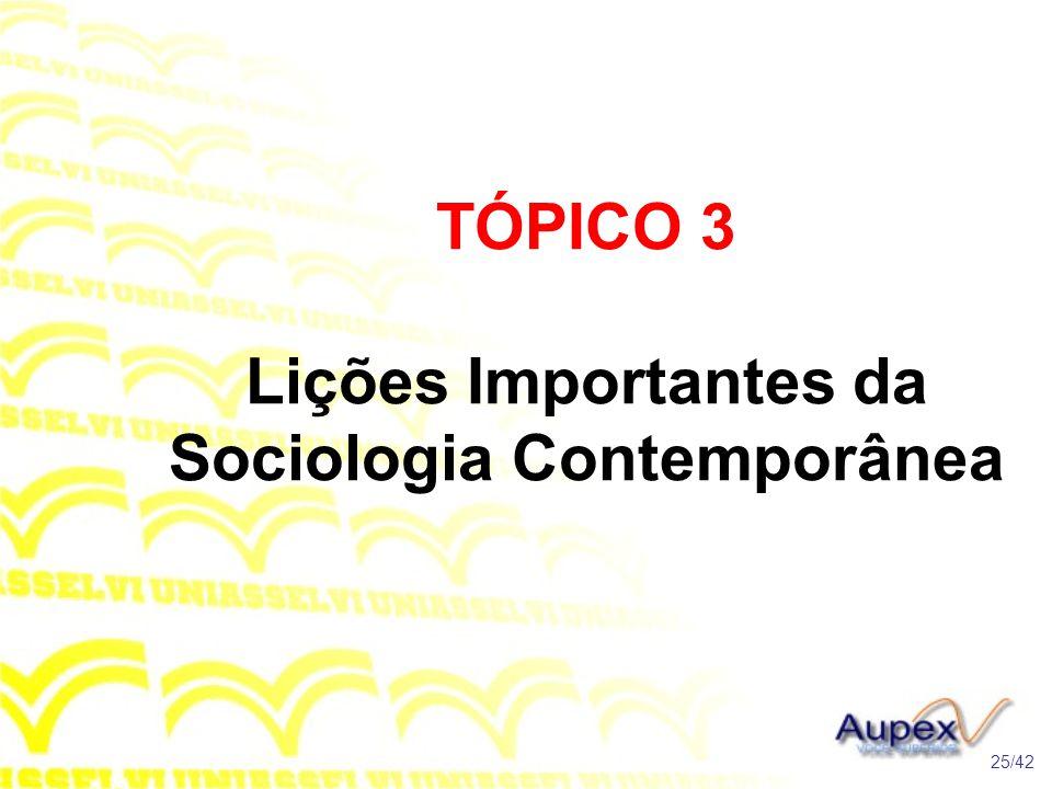TÓPICO 3 Lições Importantes da Sociologia Contemporânea