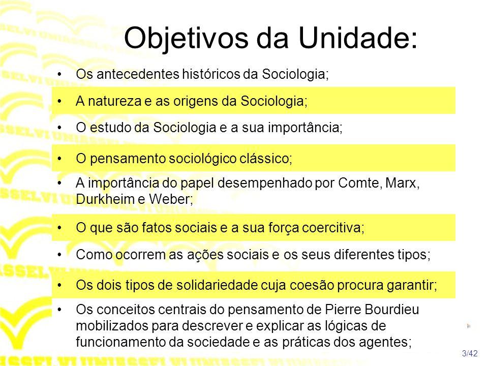 Objetivos da Unidade: Os antecedentes históricos da Sociologia;