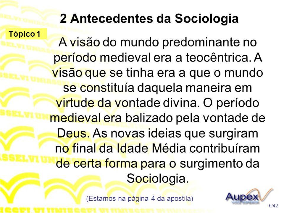 2 Antecedentes da Sociologia