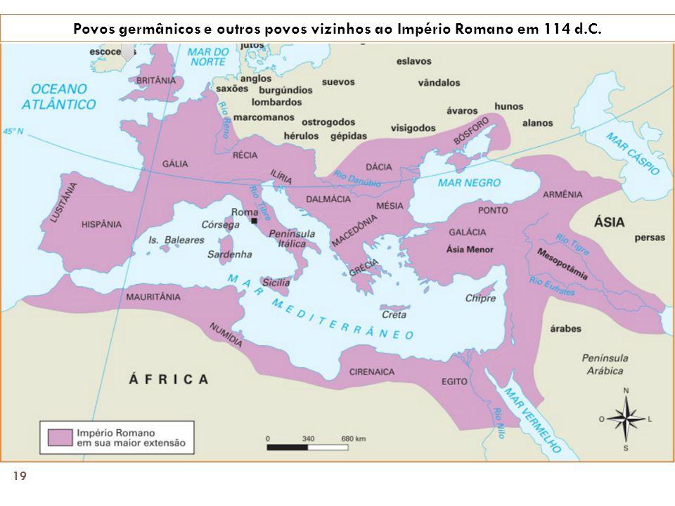 Povos germânicos e outros povos vizinhos ao Império Romano em 114 d.C.