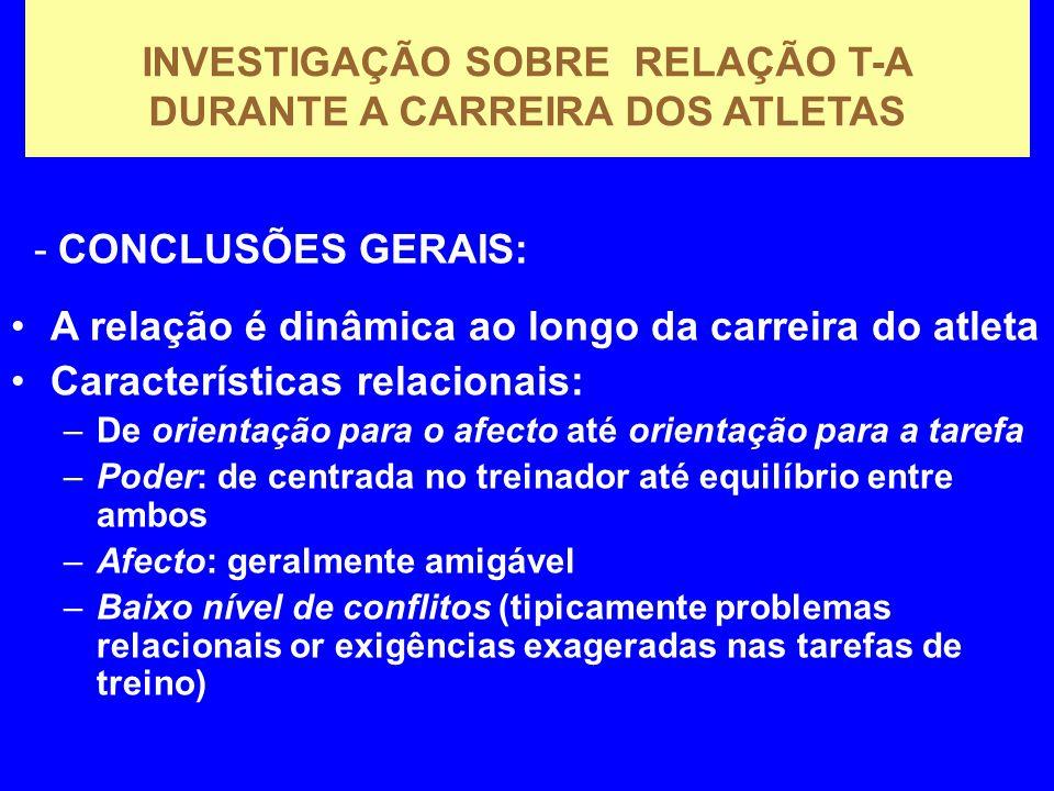 INVESTIGAÇÃO SOBRE RELAÇÃO T-A DURANTE A CARREIRA DOS ATLETAS