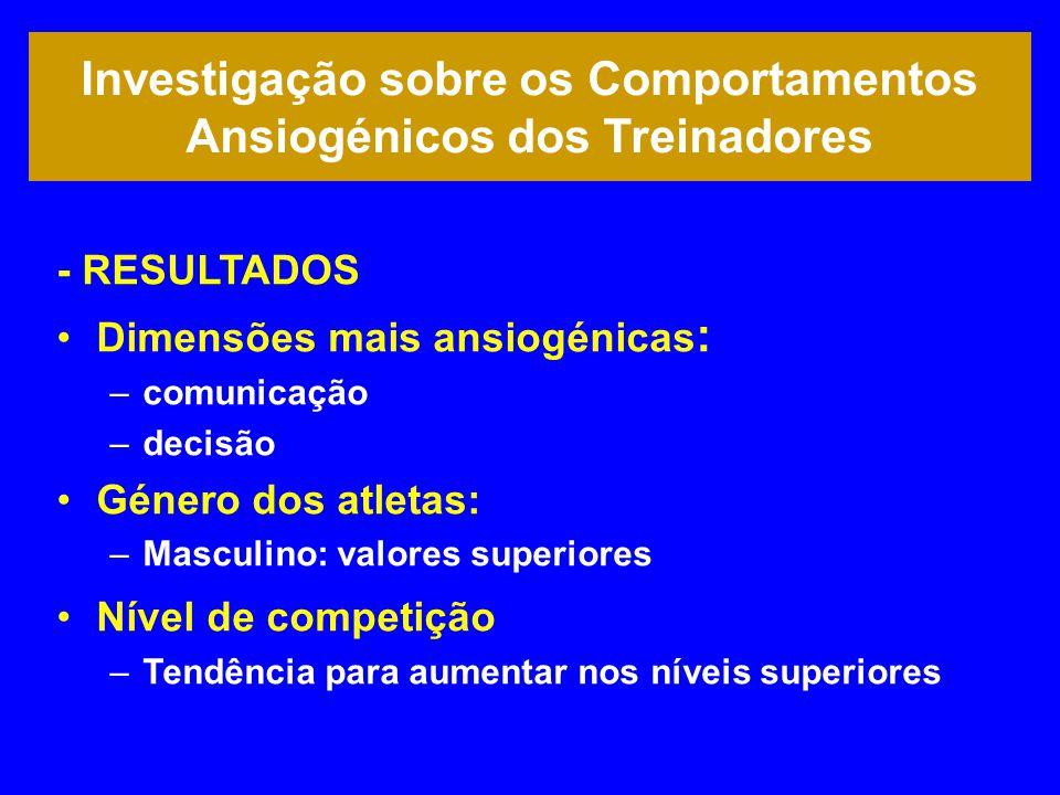 Investigação sobre os Comportamentos Ansiogénicos dos Treinadores