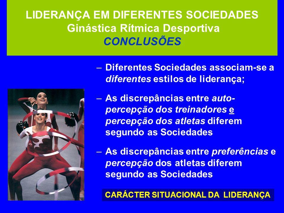 LIDERANÇA EM DIFERENTES SOCIEDADES Ginástica Rítmica Desportiva CONCLUSÕES