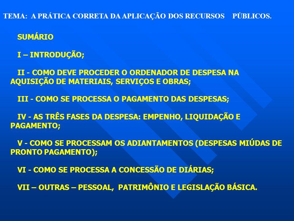 TEMA: A PRÁTICA CORRETA DA APLICAÇÃO DOS RECURSOS PÚBLICOS. SUMÁRIO