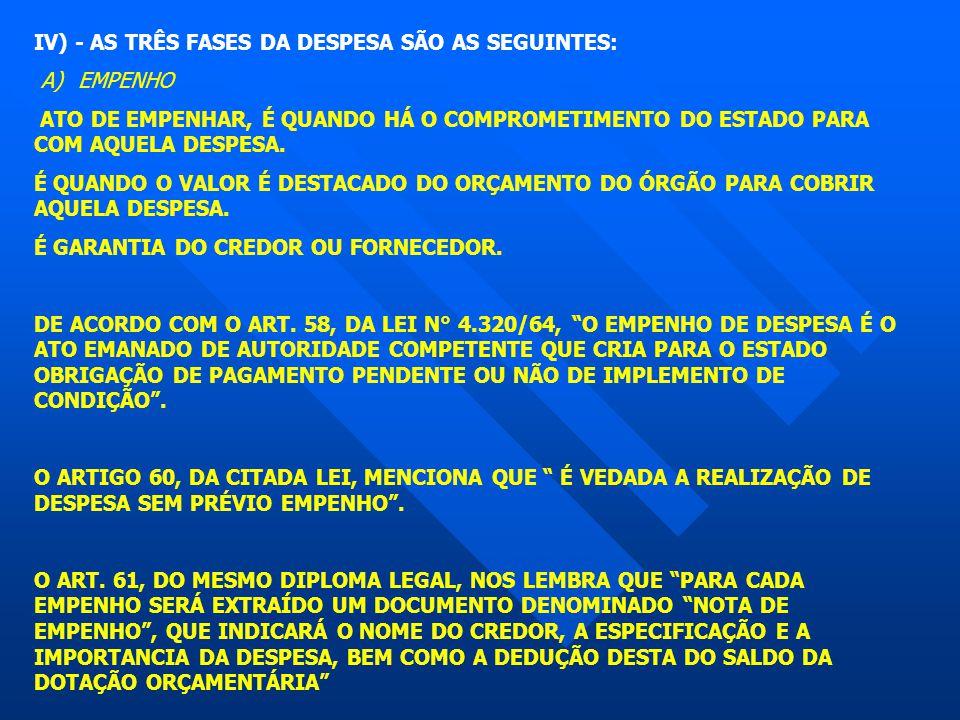 IV) - AS TRÊS FASES DA DESPESA SÃO AS SEGUINTES: