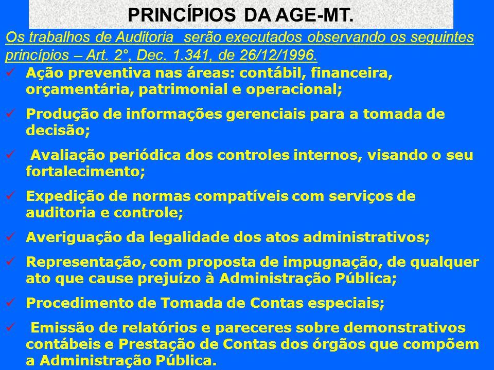 PRINCÍPIOS DA AGE-MT. Os trabalhos de Auditoria serão executados observando os seguintes princípios – Art. 2°, Dec. 1.341, de 26/12/1996.