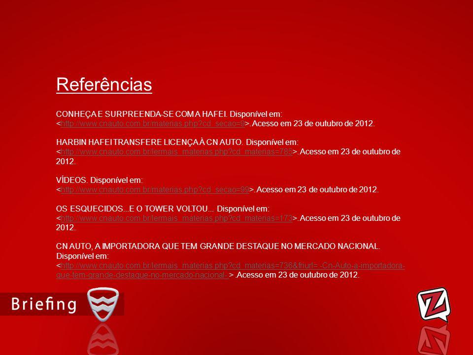 Referências CONHEÇA E SURPREENDA-SE COM A HAFEI. Disponível em: