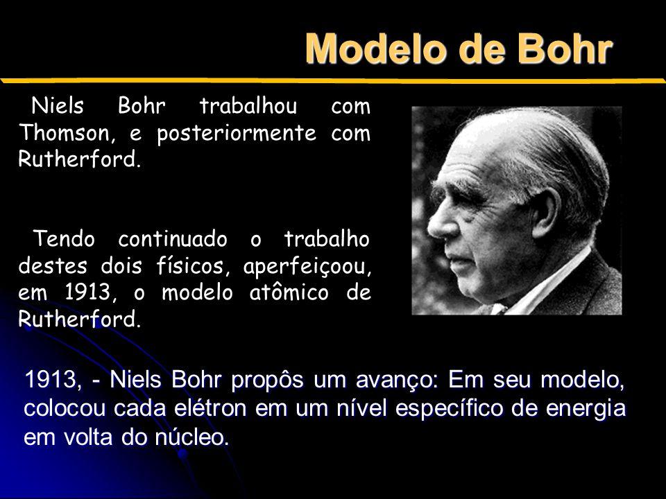 Modelo de Bohr Niels Bohr trabalhou com Thomson, e posteriormente com Rutherford.