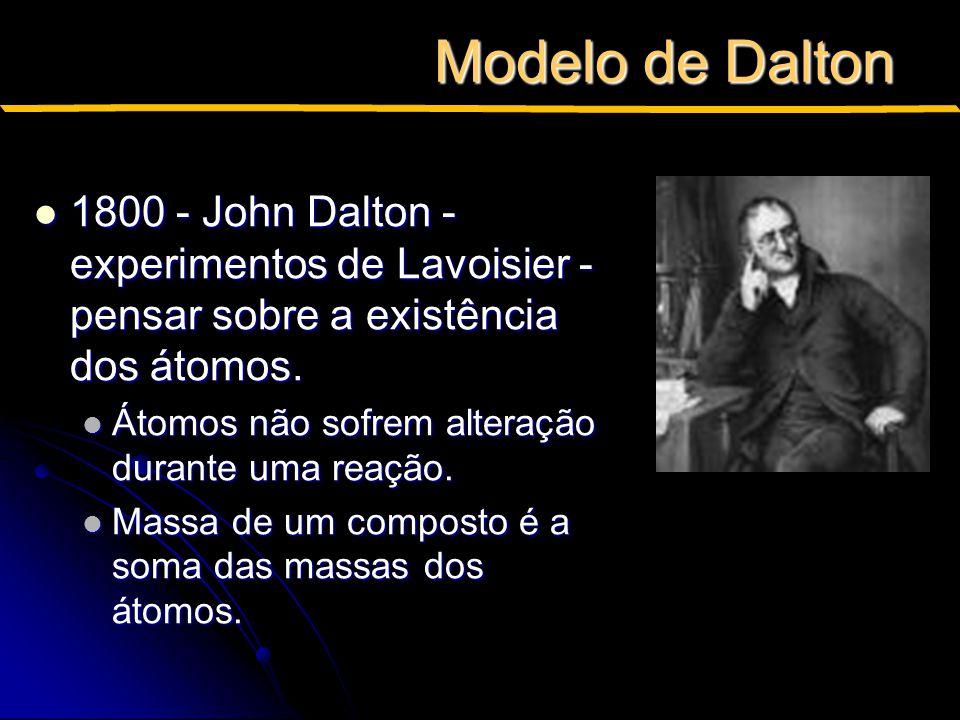 Modelo de Dalton 1800 - John Dalton - experimentos de Lavoisier - pensar sobre a existência dos átomos.