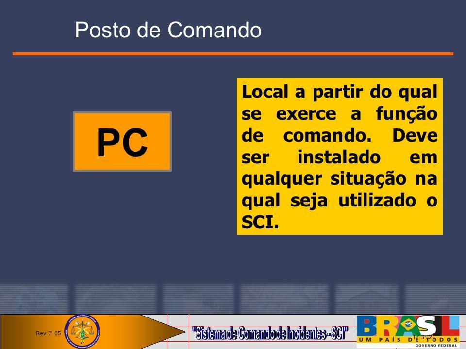 Posto de Comando Local a partir do qual se exerce a função de comando. Deve ser instalado em qualquer situação na qual seja utilizado o SCI.