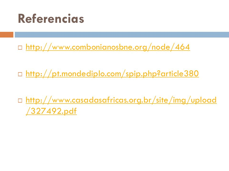 Referencias http://www.combonianosbne.org/node/464