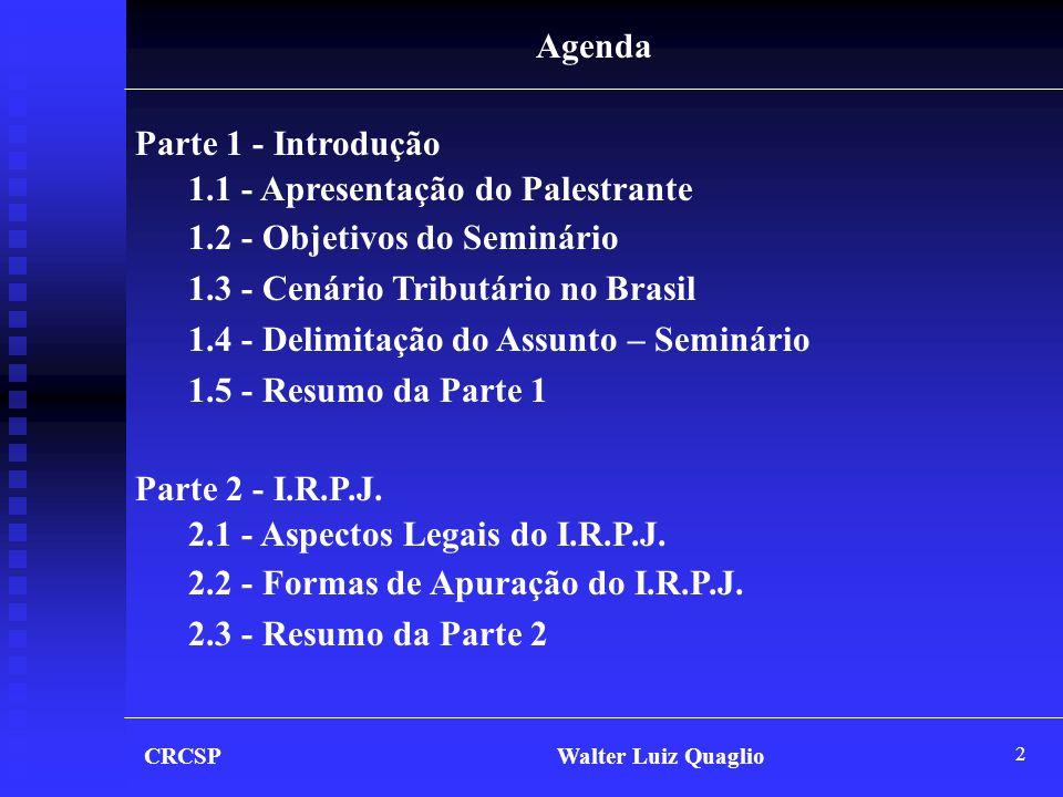 1.1 - Apresentação do Palestrante 1.2 - Objetivos do Seminário