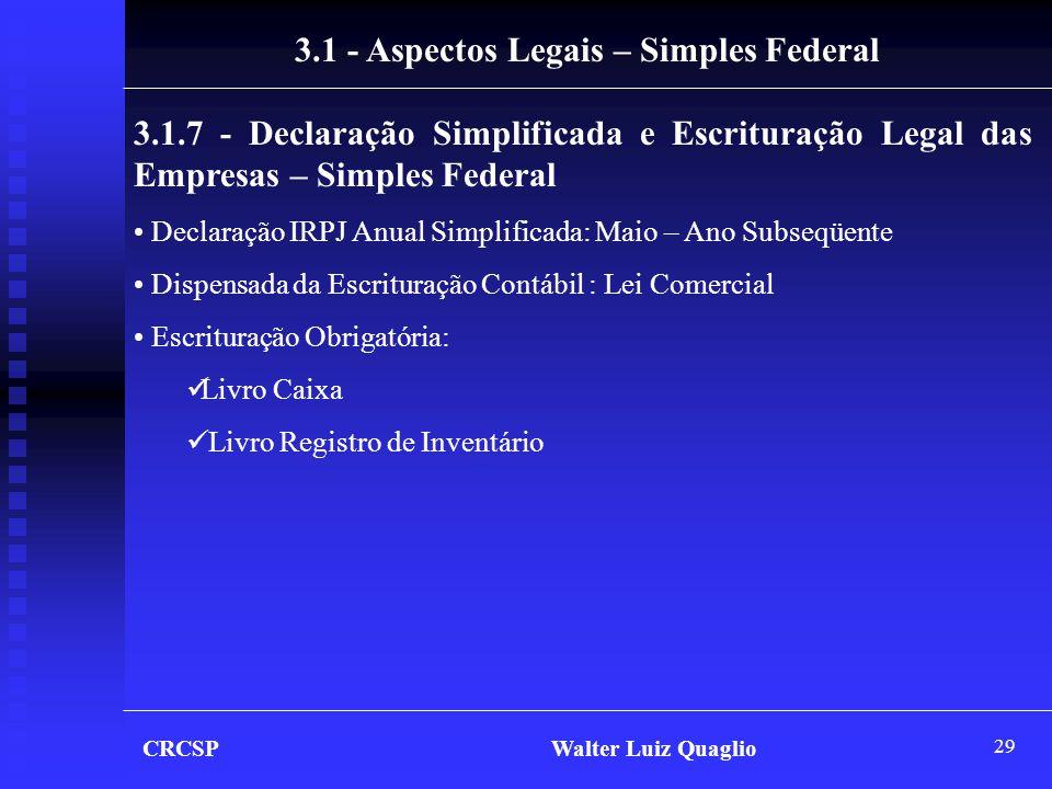 3.1 - Aspectos Legais – Simples Federal