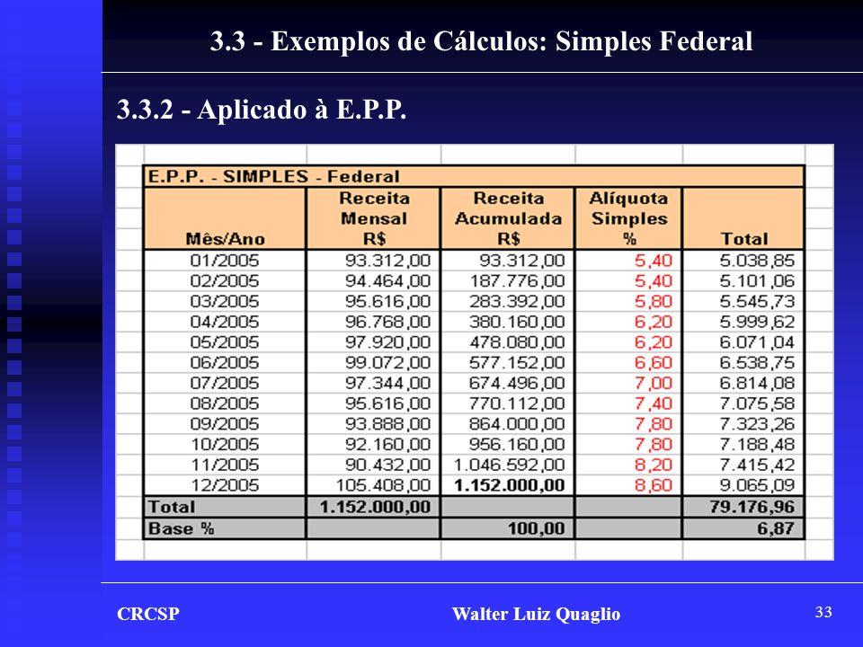 3.3 - Exemplos de Cálculos: Simples Federal