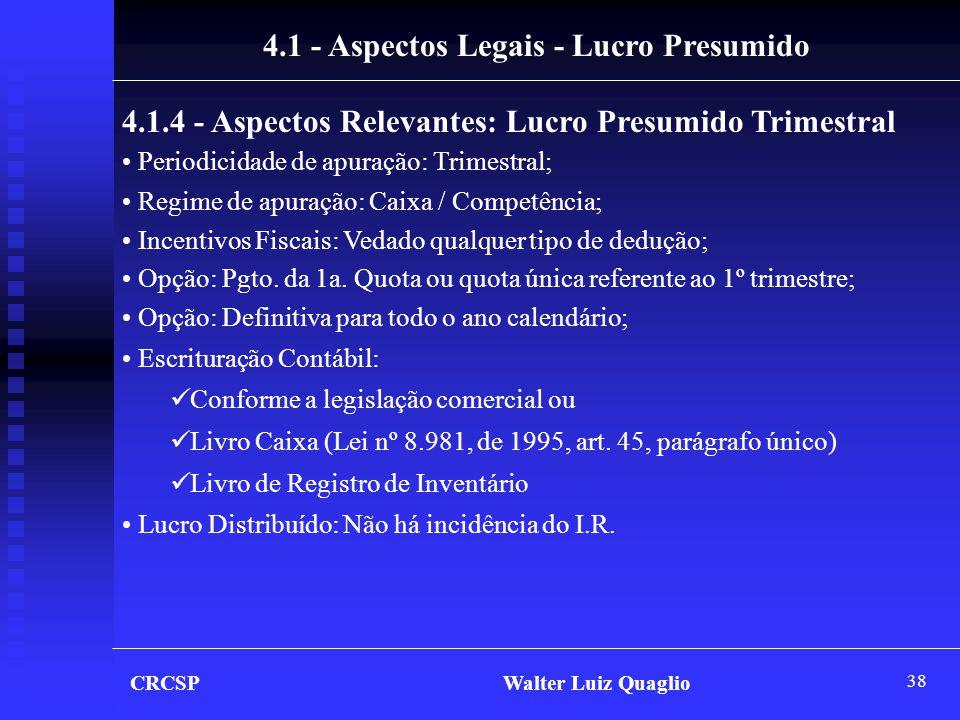 4.1 - Aspectos Legais - Lucro Presumido