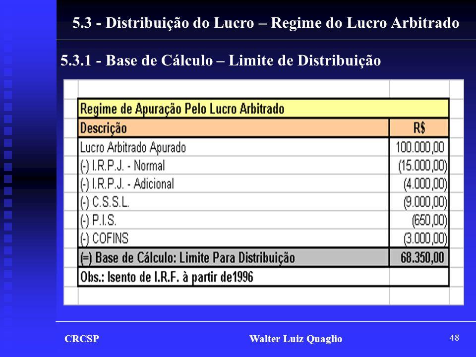 5.3 - Distribuição do Lucro – Regime do Lucro Arbitrado