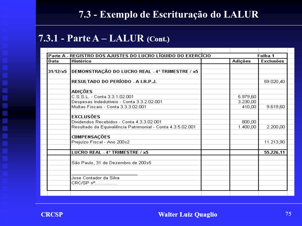 7.3 - Exemplo de Escrituração do LALUR