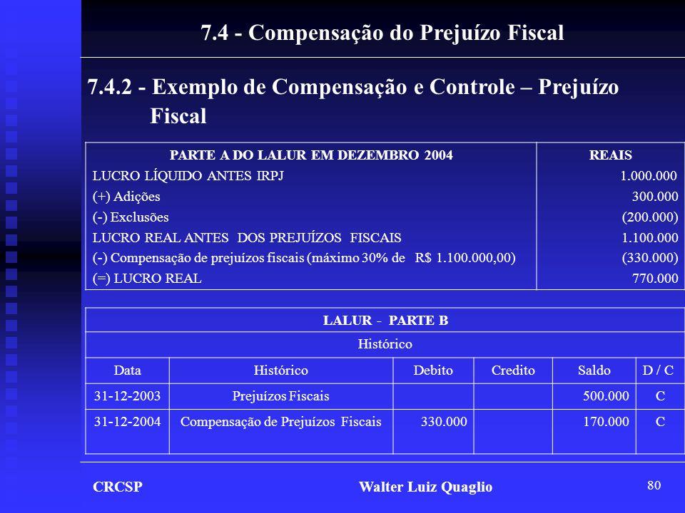 7.4 - Compensação do Prejuízo Fiscal PARTE A DO LALUR EM DEZEMBRO 2004