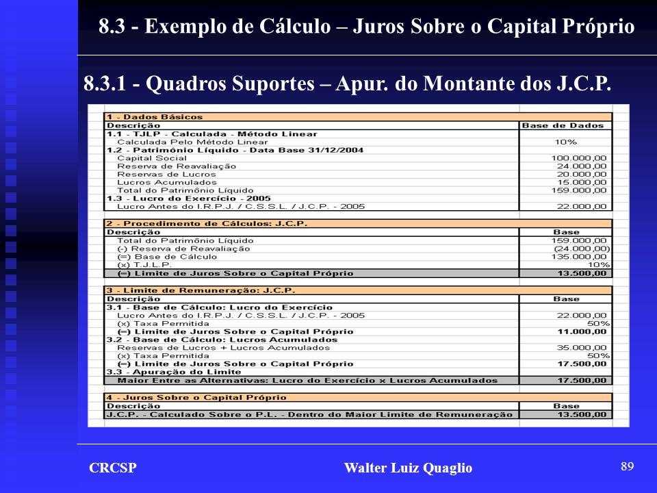 8.3 - Exemplo de Cálculo – Juros Sobre o Capital Próprio
