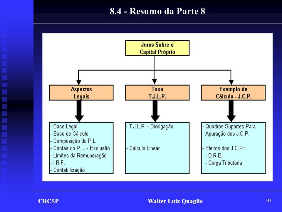 8.4 - Resumo da Parte 8 CRCSP Walter Luiz Quaglio.