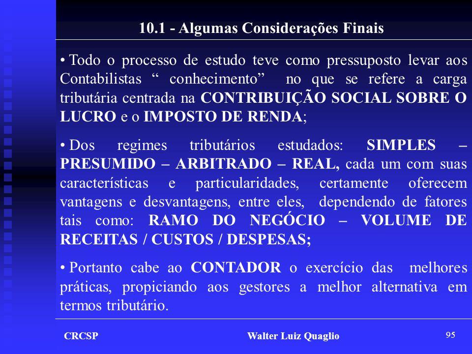 10.1 - Algumas Considerações Finais